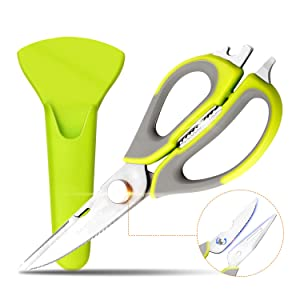 VOSIN Multi-purpose Kitchen Scissors,8 in 1 Multifunctional Kitchen Shears -Household Heavy Duty 3Cr13 Stainless Steel with Magnetic Holder for Chicken,Fish,Vegetables,BBQ
