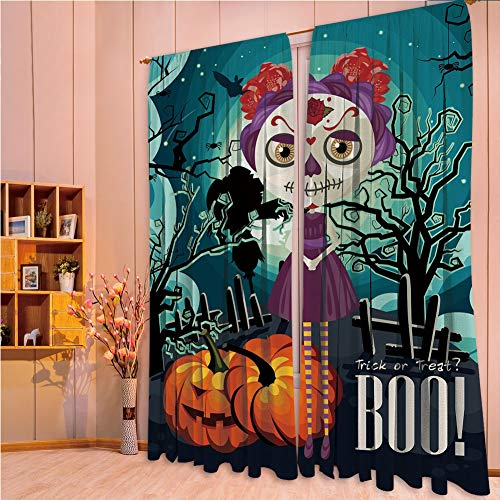 Bedroom Decor Collection Window Curtains for living room 2 Panels,Halloween,Cartoon Girl with Sugar Skull Makeup Retro Seasonal Artwork Swirled Trees Boo Decorative,Multicolor,108.3