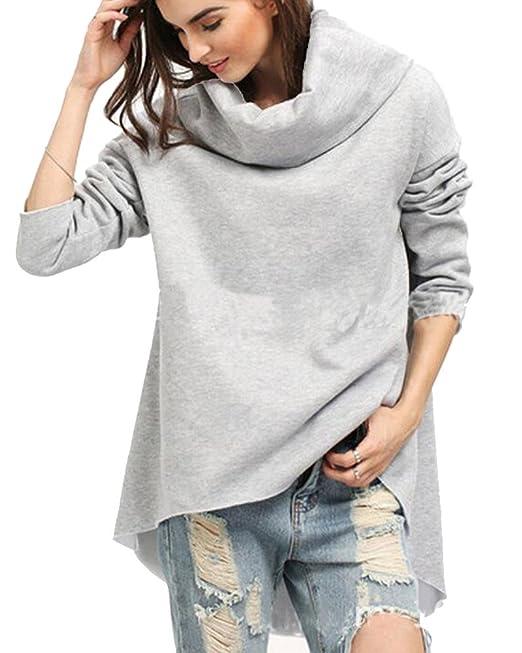 Kasen Mujeres Blusa De Moda Flojo Ocasional Irregular Tops De Manga Larga Camiseta Gris L