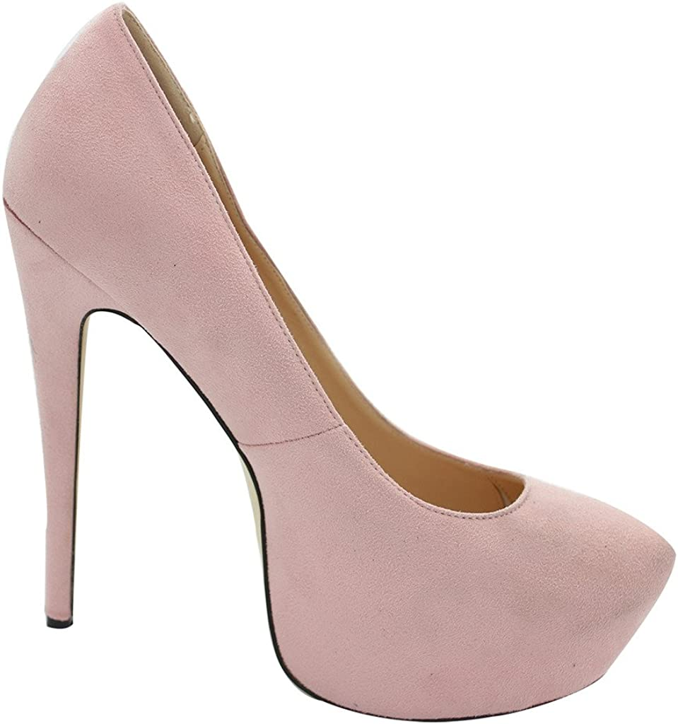 Pink M Calaier Womens Chaitle Pointed-Toe 15CM Stiletto Slip-on Pumps Shoes US 11.5 B
