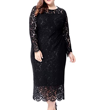 Eternatastic Women\'s Floral Lace Long Sleeve Plus Size Lace Dress Black