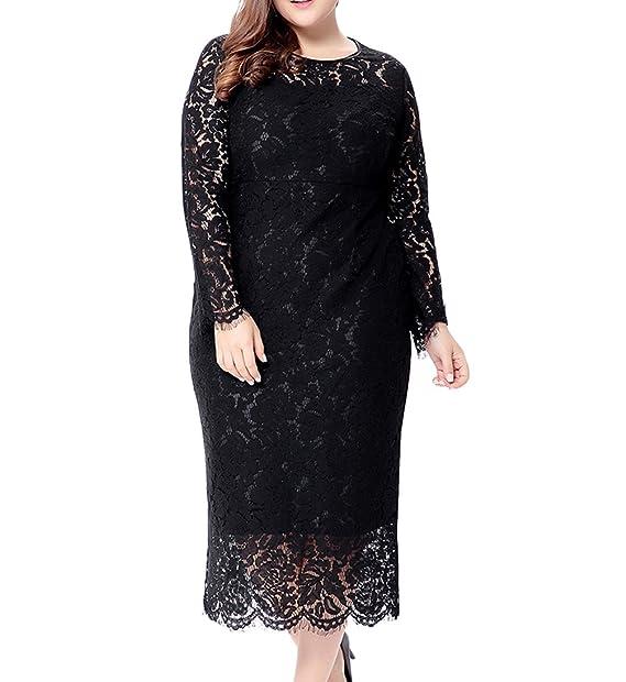 Eternatastic Women\'s Floral Lace Long Sleeve Plus Size Lace Dress Black