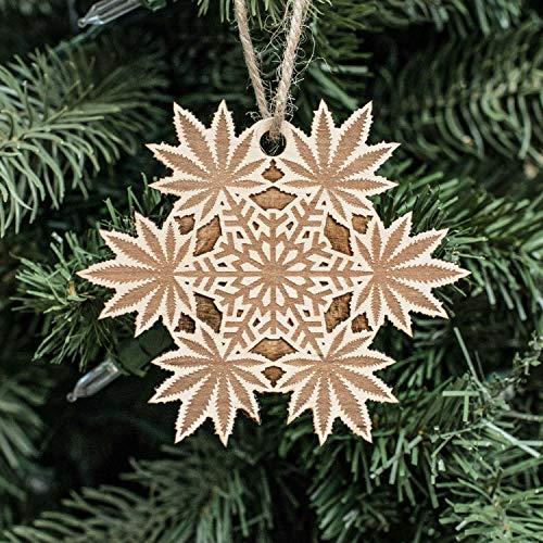 Ornament - Pot Snowflake - Raw Wood 3x3in