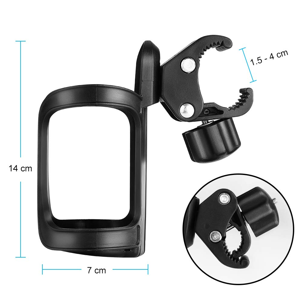 Accmor Bike Cup Holder/Stroller Bottle Holders, Universal 360 Degrees Rotation Antislip Cup Drink Holder for Baby Stroller/Pushchair, Bicycle, Wheelchair, Motorcycle, Tools Free, 2pack by accmor (Image #9)