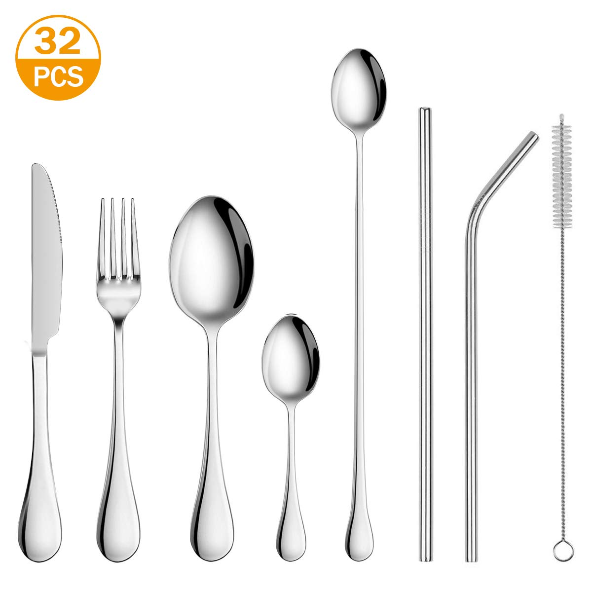 Silverware Flatware Cutlery Set,Portable Utensils LPOLER 32 Pieces Stainless Steel Utensils Service for 4,Include Knife,Fork,Spoon,Straw and Cleaning Brush,Mirror Polished,Dishwasher Safe