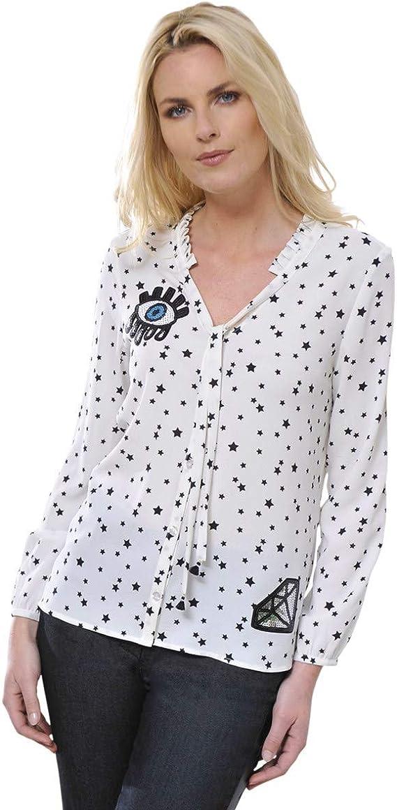 BLU dAzur - Camisa fluida, diseño de Estrella, lavalliera de Invierno para Mujer, Color Azul Blanco 42: Amazon.es: Ropa y accesorios