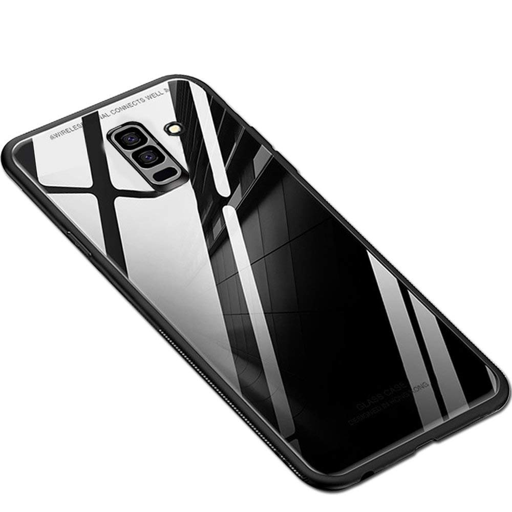 ERIT Samsung Galaxy A6 Plus Back Case Cover Luxurious Toughened Glass Back Case with Shockproof TPU Bumper Samsung Galaxy A6 Plus (Black Glass)