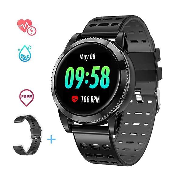 Smartwatch Deporte Hombre, Pulsera Inteligente Monitores de Actividad Impermeable IP67 con Monitor de sueño Pulsómetros Podómetro Contador de Caloría ...