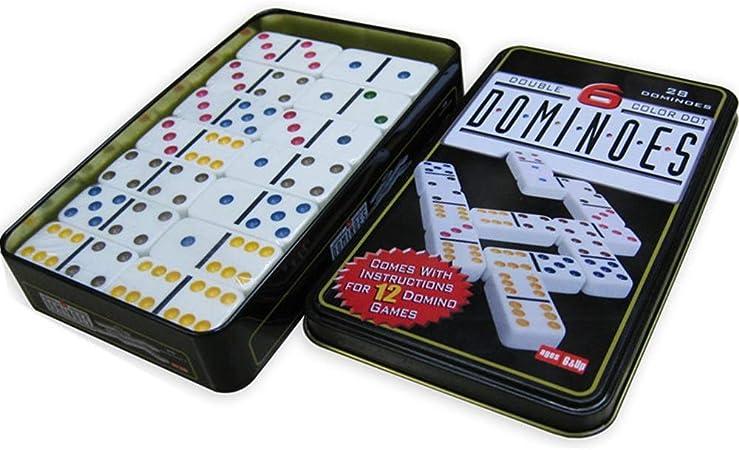Conjunto de juguete Teja Domino Juegos Caja De Hierro Dominos Conjunto Doble Doble 6 9 12