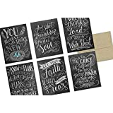 Chalkboard Have Faith - 36 Note Cards - 6 Designs - Kraft Envelopes Included