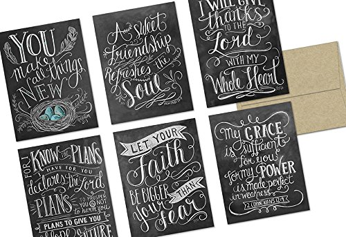 Chalkboard Have Faith - 36 Note Cards - 6 Designs - Kraft Envelopes Included -