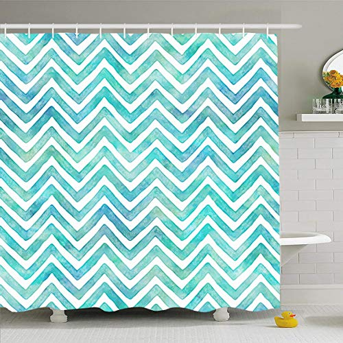 Aqua Green Pool Paint - Ahawoso Shower Curtain 72x72 Inches Blue Aqua Ocean Waves Watercolor Chevron Pattern Sea Green Paint Pool Shades Summer Design Water Waterproof Polyester Fabric Set with Hooks
