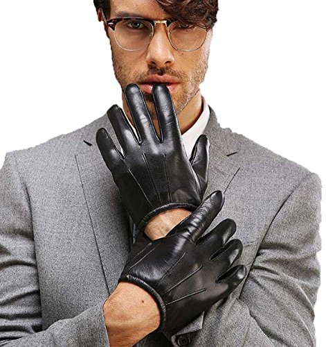 HOMEE Men'S Leather Sheepskin Gloves Winter Warm,Black,X-Large