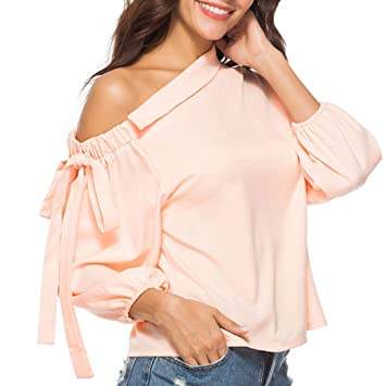 3dbe330832d60 Besde Clearance Fashion Sexy Womens Tops Blouse Bow Oblique Collar One  Shoulder Long Sleeve Tunic Tops
