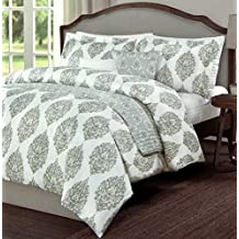 Vintage Ornate Ash Gray Block Print Duvet Cover China Paisley Shadow Grey Scroll Medallion Print Microfiber 3 Piece Bedding Set Full Queen