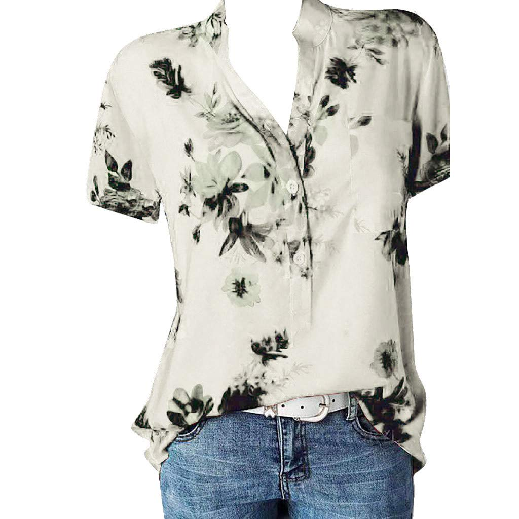 bbf46c33e5de Women Printing Pocket Plus Size Short Sleeve Brief Blouse Top Shirt at  Amazon Women's Clothing store: