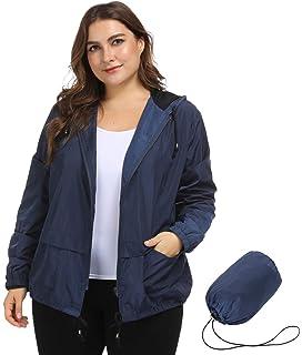 d65141f9a10 Hanna Nikole Women s Plus Size Waterproof Lightweight Raincoats Hooded  Packable Active Outdoor Rain Jacket