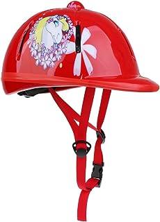 Baoblaze 2pcs Casque Équitation pour Enfant Coque Extérieure en PVC Équipement de Protection Cavalier Noir/Rouge