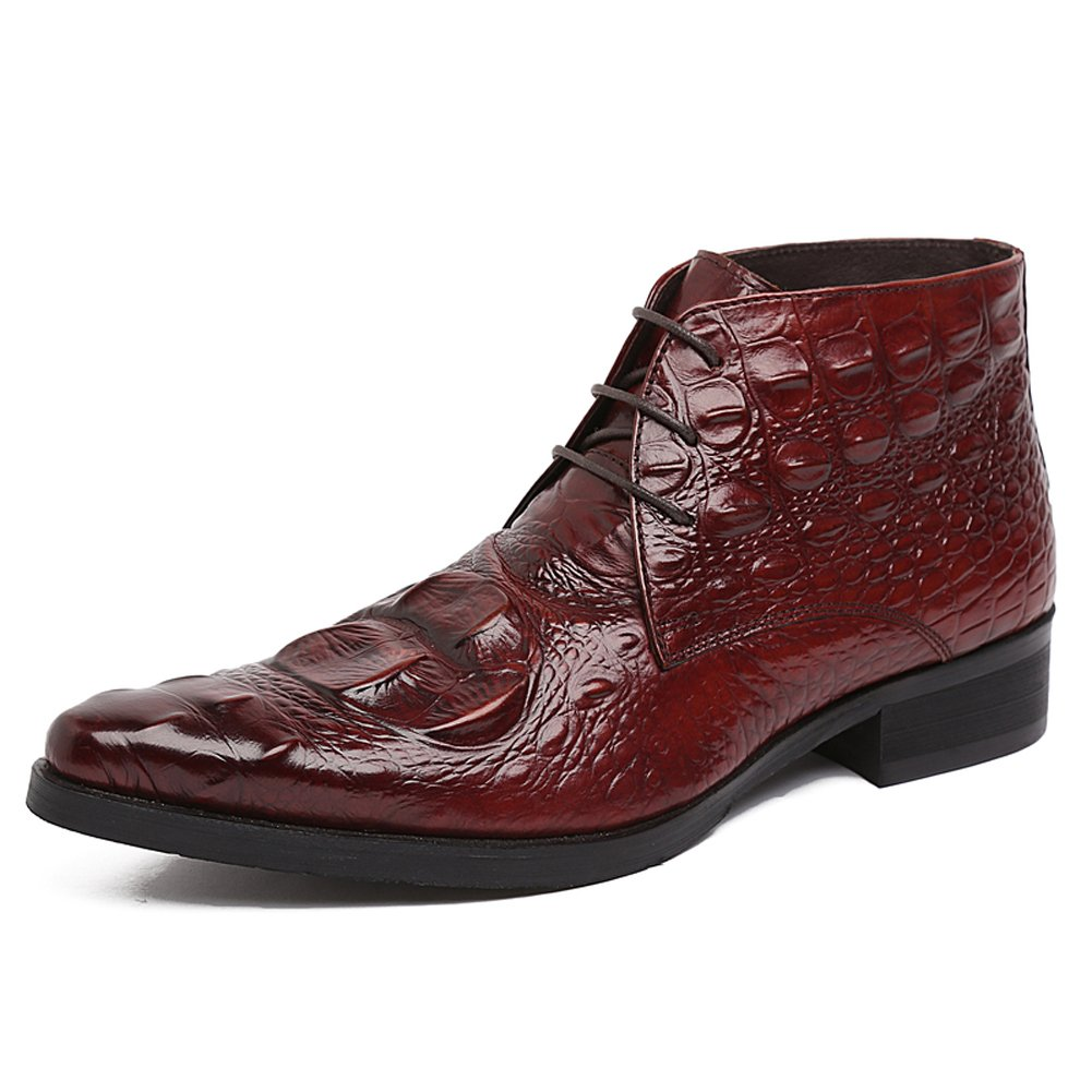 Santimon Men's PU Crocodile Leather Lace-up Ankle Chukka Boots Business Oxford Shoes-wine red-44