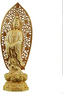 Statues,Guanyin Wooden Statue Crafts Buddha Statue Home Living Room Dedicated to Feng Shui and Safe Decoration Buddha Statue