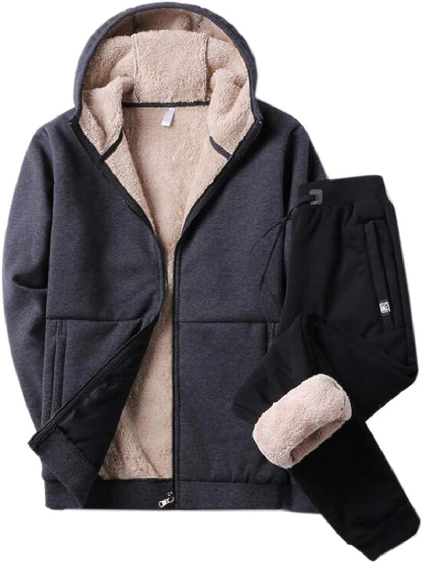 HTOOHTOOH Mens Adult Lambs Wool Loose Fit Casual Big /& Tall Tracksuit Set