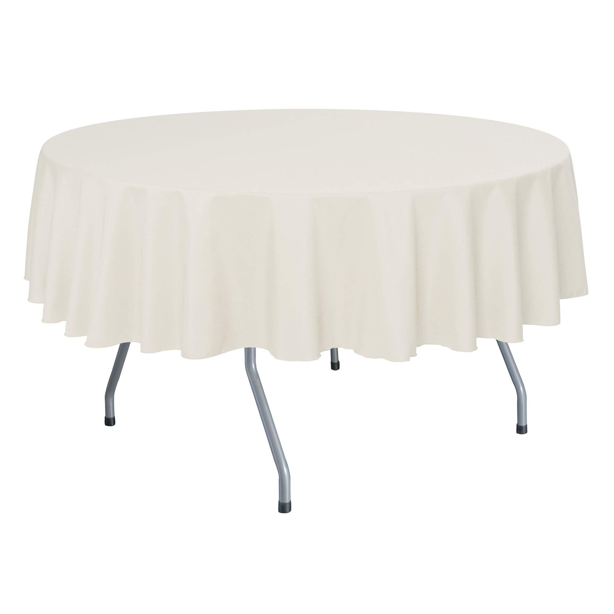 Ultimate Textile -10 Pack- 60-Inch Round Polyester Linen Tablecloth - Fits Tables Smaller Than 60-Inches in Diameter, Ivory Cream by Ultimate Textile