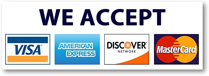 """We Accept Credit Cards AmEx Visa MasterCard Discover Decals Sticker Logo  Sign for Stores & Businesses (14"""" x 14.14"""")"""