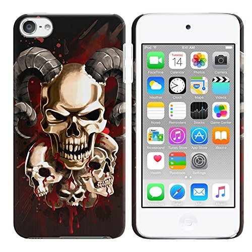FINCIBO iPod Touch 5 6 Case, Back Cover Hard Plastic Protector Case Stylish Design For Apple iPod Touch 5 (5th Generation) iPod Touch 6 (6th Generation) - Bronze Metal Skull (Ipod Touch Metal)