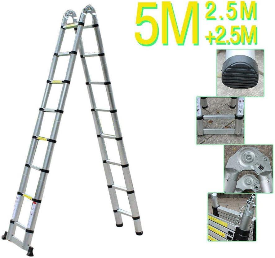 Jasemy /Échelle t/élescopique en aluminium 5 m /Échelle pliante multifonction /Échelle t/élescopique 16 /échelons