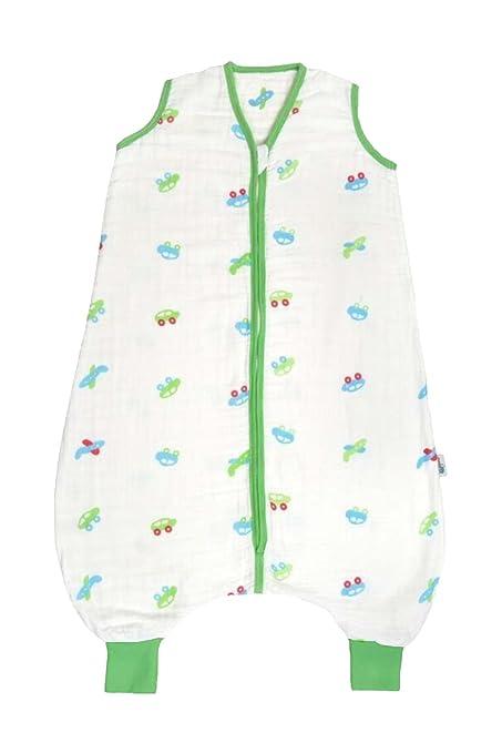 Saco de repetición Baby muselina Saco de dormir de verano con patas 0.5 tog – Coches