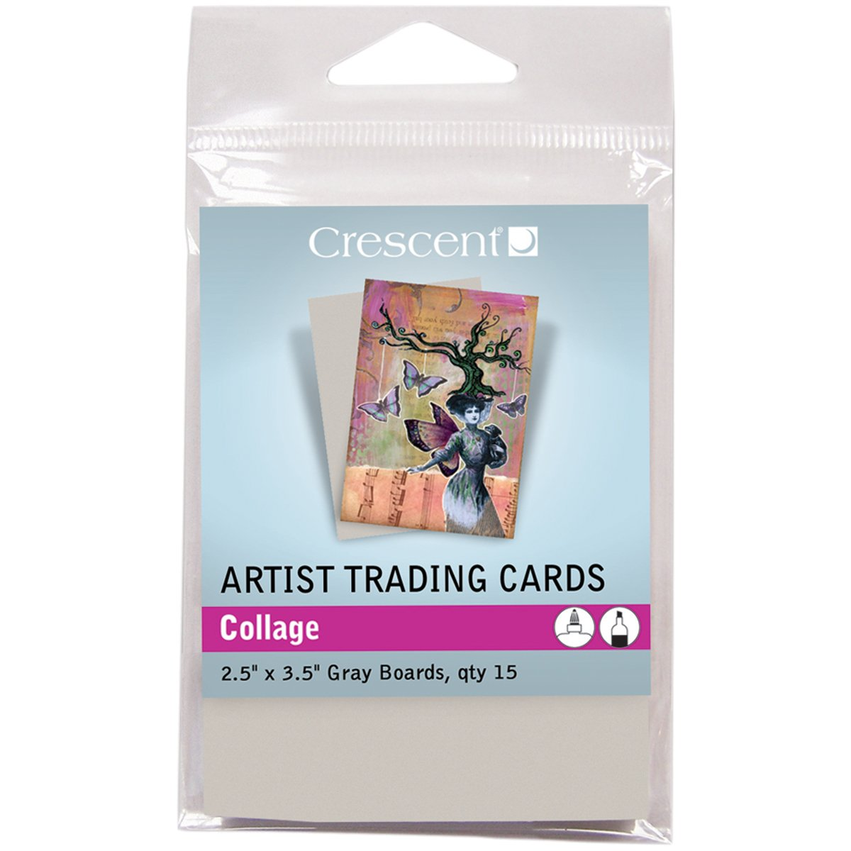 Crescent Cardboard Artist Collage Trading Cards (15 Pack), 2.5' by 3.5'