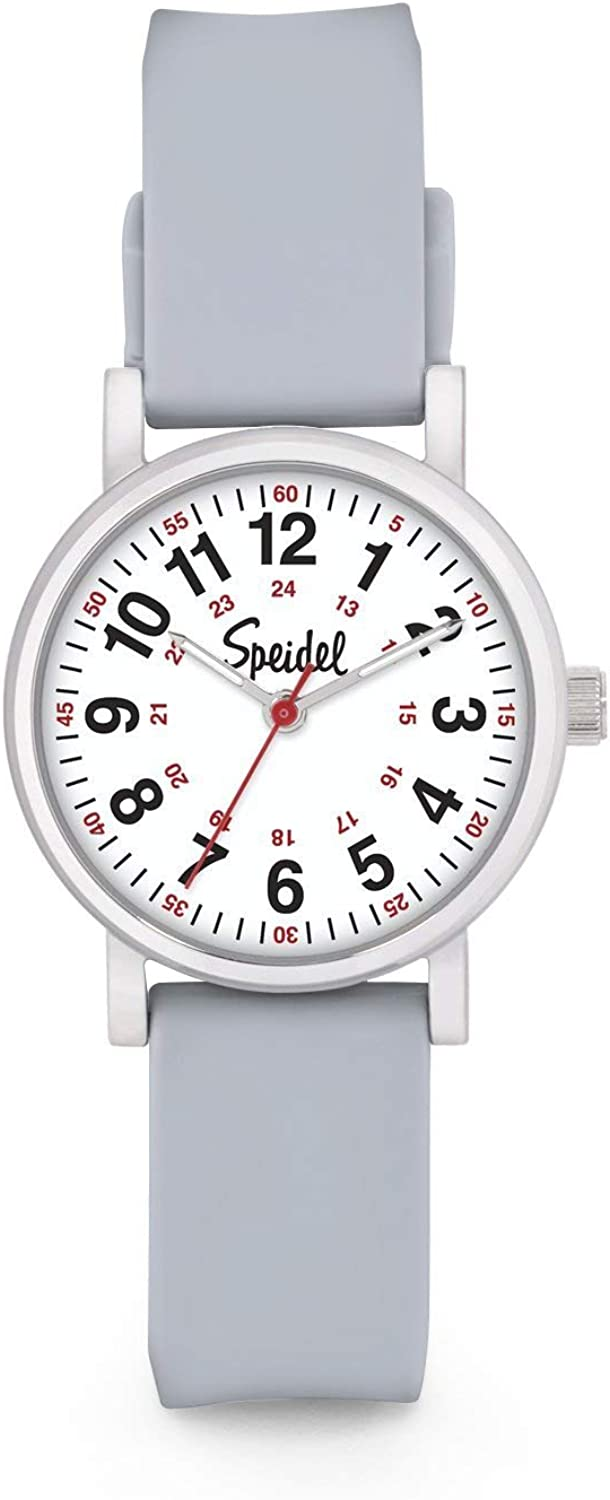 Speidel Women's Scrub Petite Watch for Medical Professionals - Easy to Read Small Face, Luminous Hands, Silicone Band, Second Hand, Military Time for Nurses, Doctors,Students in Scrub Matching Colors