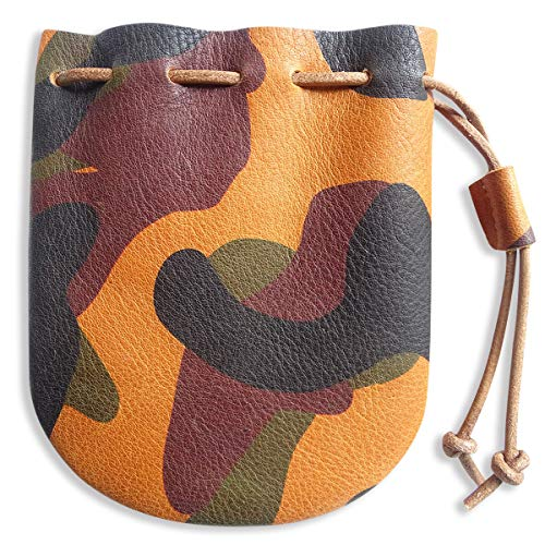 Fantastic Workmanship Genuine Leather Drawstring Coin Purse (Camouflage)