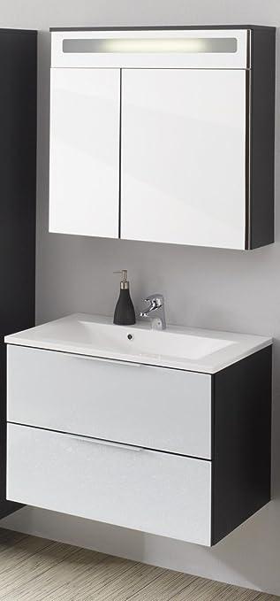 Dreams4Home Waschplatz Set Magna XL Badezimmer Badmöbel Spigelschrank Inkl.  Beleuchtung Bad Weiß Anthrazit