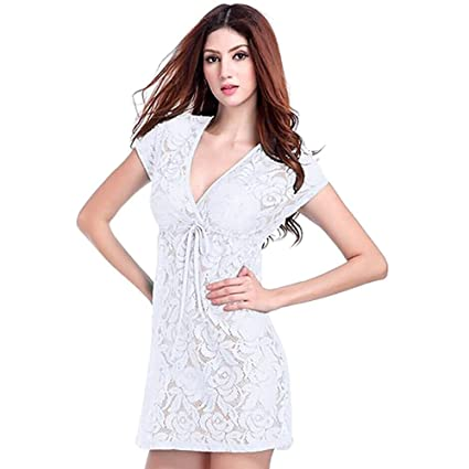 880d2214c6e Image Unavailable. Image not available for. Color  MM Women Lace Sundress  Bikini Cover Up Beach Dress ...
