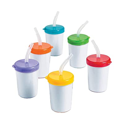 Do It Yourself Cups W/ Lids and Straws 12 Pc - Crafts for Kids and Fun Home Activities: Toys & Games