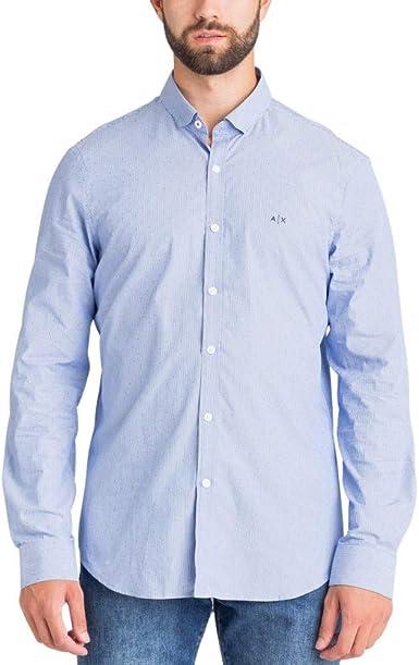 Armani Exchange Camisa Azul con microtopos Sky Linedots para Hombre: Amazon.es: Ropa y accesorios