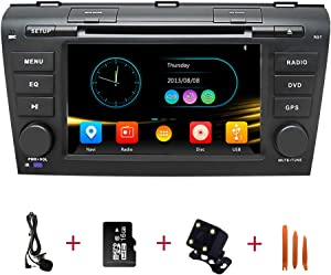 Car Stereo Radio in Dash Navigation for Mazda 3 2004 2005 2006 2007 2008 2009,7 inch Touchscreen Double Din DVD Player Bluetooth with Rear View Camera,16GB SD Card,3.5mm Mic,Crowbar
