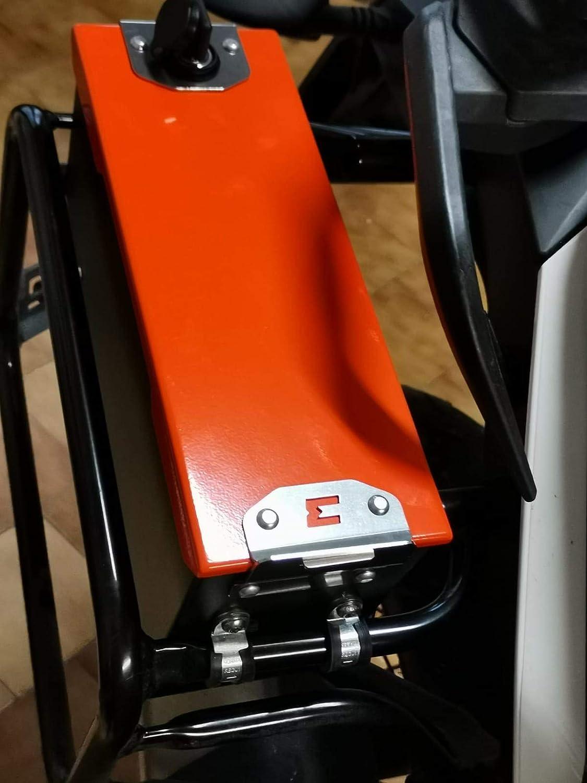 compatibile con telaietti originali per 1290 SUPERADVENTURE R-S-T // 1190 ADVENTURE//R 1050 ADVENTURE 1090 ADVENTURE MyTech TOOL CASE 3,6 LT in alluminio verniciato Nero//Arancio