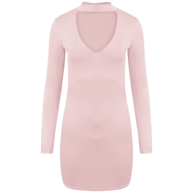 GirlzWalk @ Women Ladies Curve Hem Keyhole Cut Choker V Neck Tunic Bodycon Mini Dress