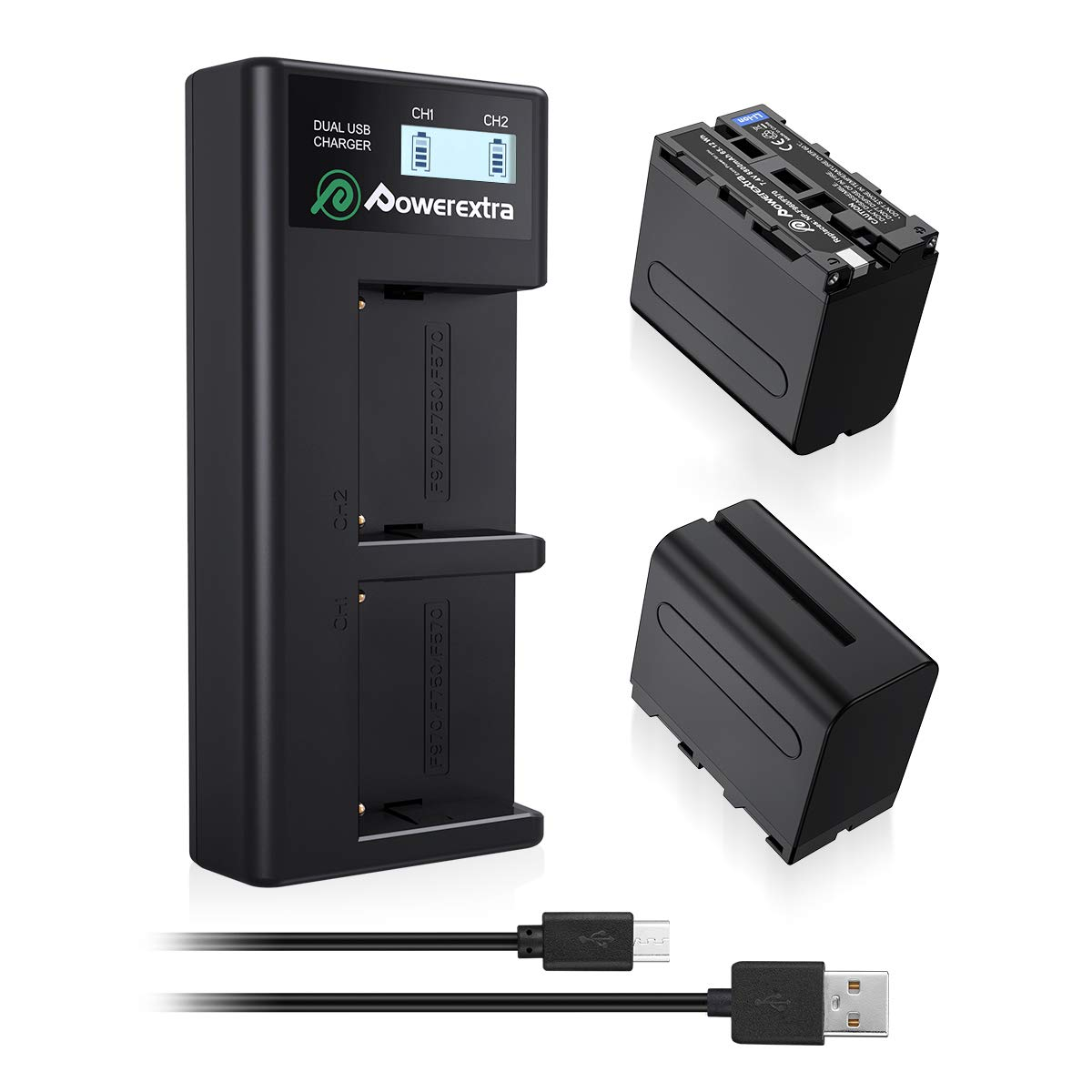Powerextra 2 Pack Replacement Sony NP-F970 Battery and Smart LCD Display Dual USB Charger for Sony NP-F930 NP-F950 NP-F960 Battery and Sony CCD-SC55, TR516, TR716, TR818, TR910, TR917 by Powerextra (Image #1)