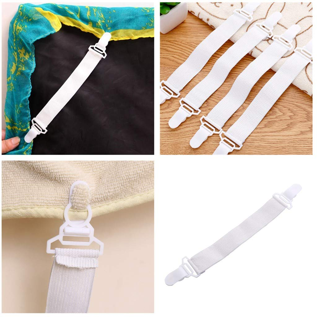 8PCS Bed Sheet Fasteners Adjustable Suspenders Mattress Sheet Clip Grippers Straps Heavy Duty Fastener Holder for Home Supplies (White)