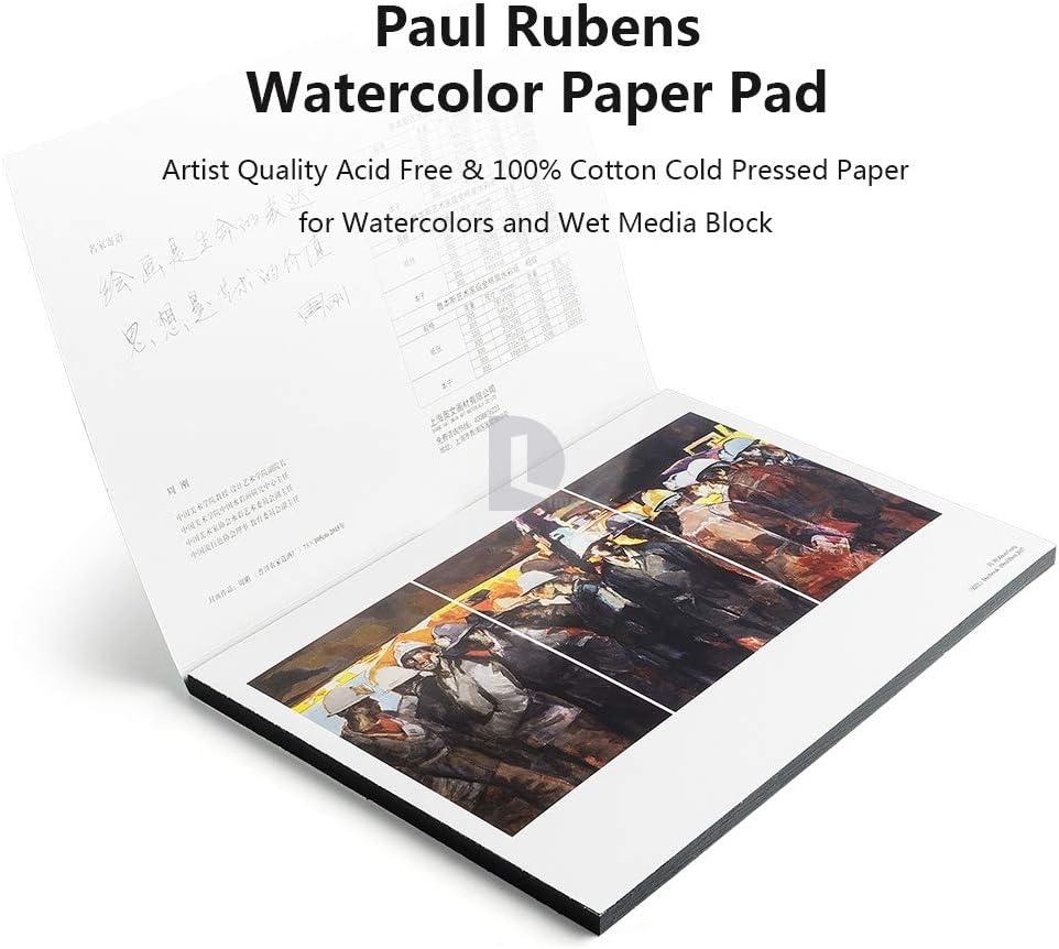 7.6 x 10.6 inch-Coldpressed Paul Rubens-Grad-Aquarell-Papier-Pad s/äurefrei und 100/% Baumwolle Hei/ß//kalt gepresstes Aquarell und nasse Medien-Auflage 20 Bl/ätter