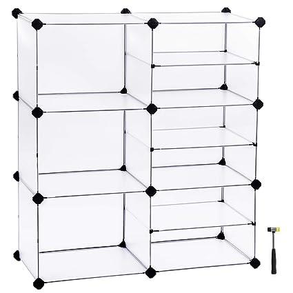 bbae9672d5ac SONGMICS Shoe Rack, Modular Storage Shelving Unit, Cube Storage Cabinet,  Interlocking Plastic Cubes, Divider Design, for Wardrobe, Closet, Bedroom,  ...