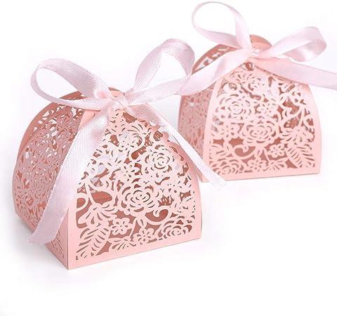 kumkey 50 x recinto a Dragees caramelos – Bombonera Box Pro caja regalo caja para boda cumpleaños Bapteme Comunión Graduación fiesta Navidad decoración, ideal para bombones pequeños regalos, papel, rosa, 5x8cm: Amazon.es:
