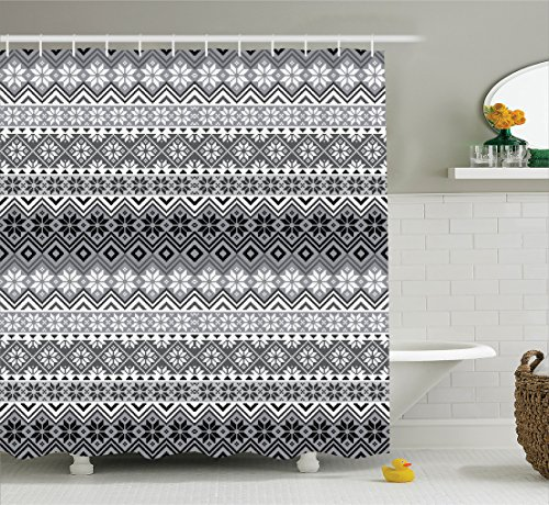 Ambesonne Grey Decor Shower Curtain Set, Nordic Snowflake Knit Patterns Scandinavian Motifs Traditional Modern Print Chic Home Deco, Bathroom Accessories, 69W X 70L Inches, Gray White Black (Kitchen Towel Knit)