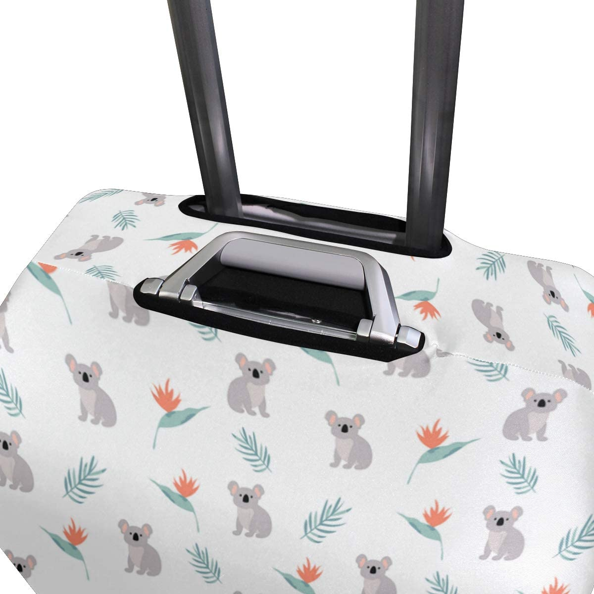 Fashion Travel Koala With Tropical Plant White Luggage Suitcase Protector Washable Baggage Covers