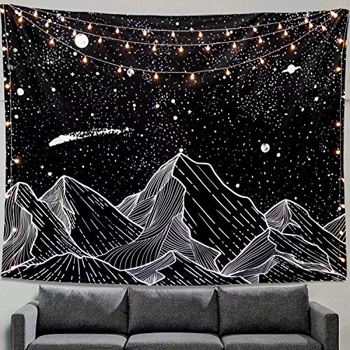 Zussun Mountain Moon Tapestry Wall Hanging Stars Black and White