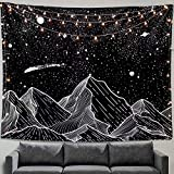 Zussun Mountain Moon Tapestry Wall Hanging Stars Black and White Art Tapestry Home Decor(Black-a, 50