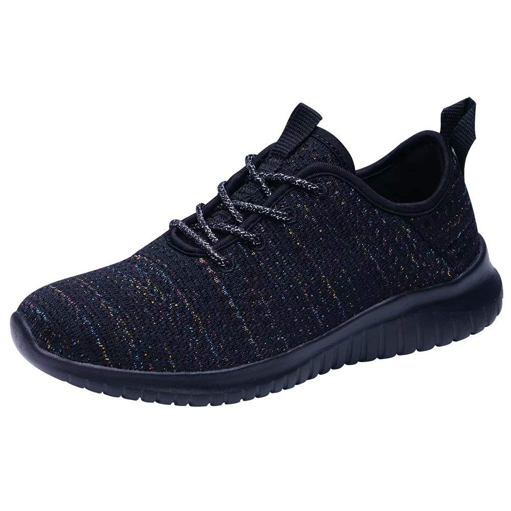 KONHILL Women's Lightweight Golf Shoes Gold Threads Casual Athletic Sport Walking Running Sneakers, Black02, 43